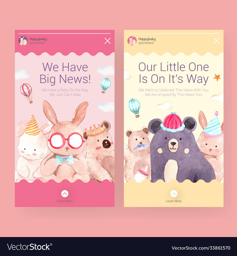Instagram template with baby shower design