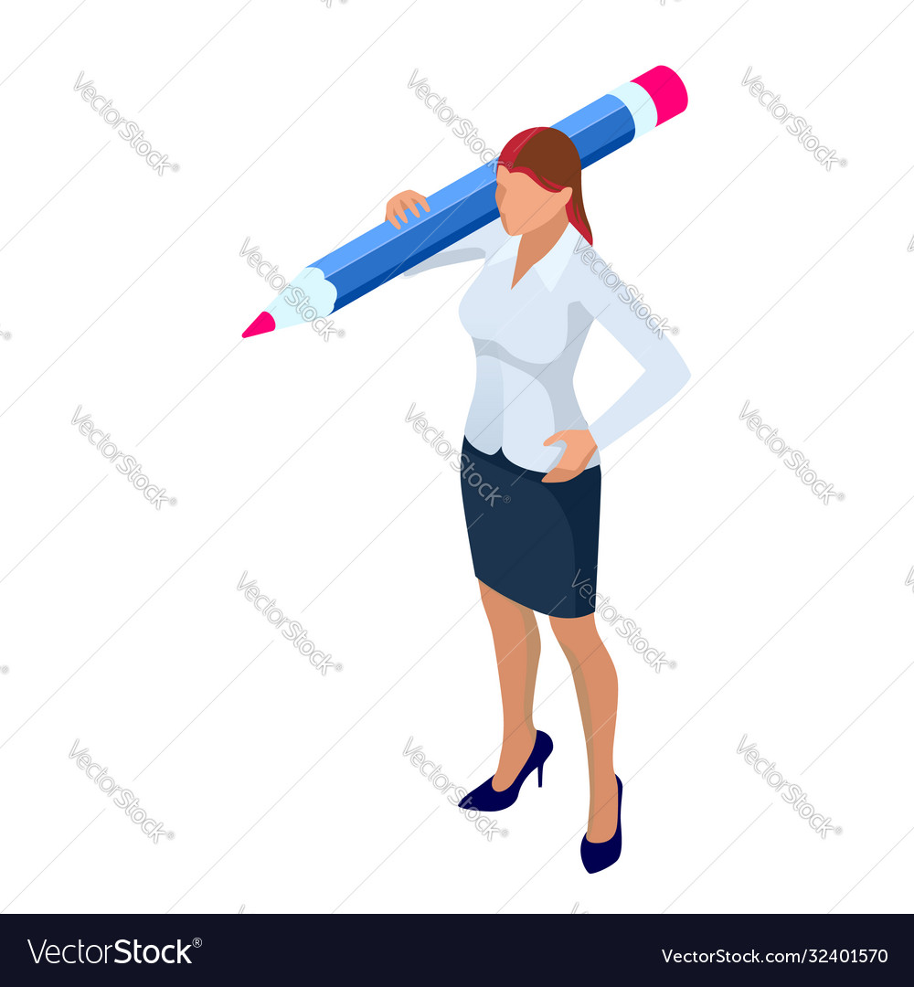 Isometric business women stylish isolated on white