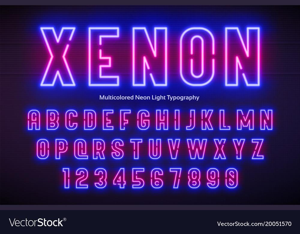 Neon light alphabet multicolored extra glowing