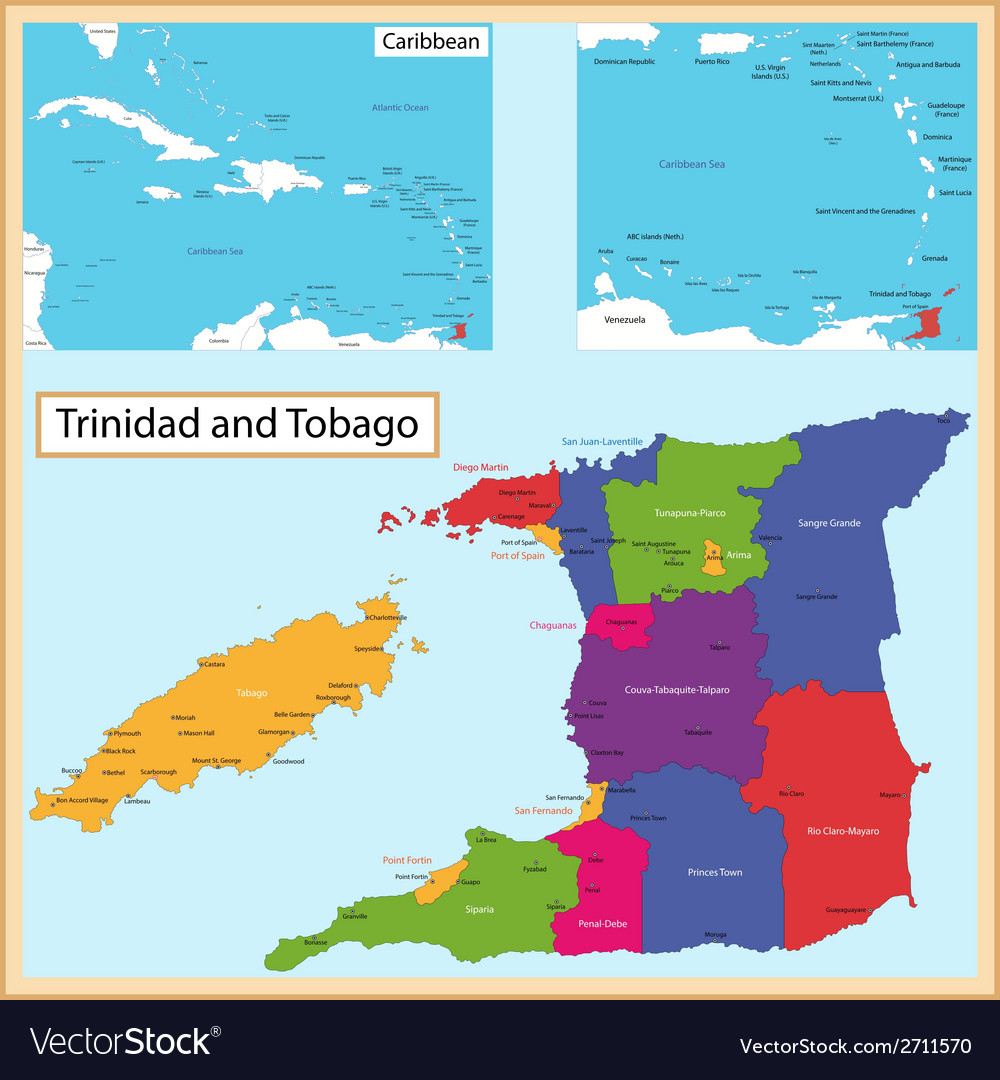 Trinidad And Tobago Map Trinidad and Tobago map Royalty Free Vector Image Trinidad And Tobago Map