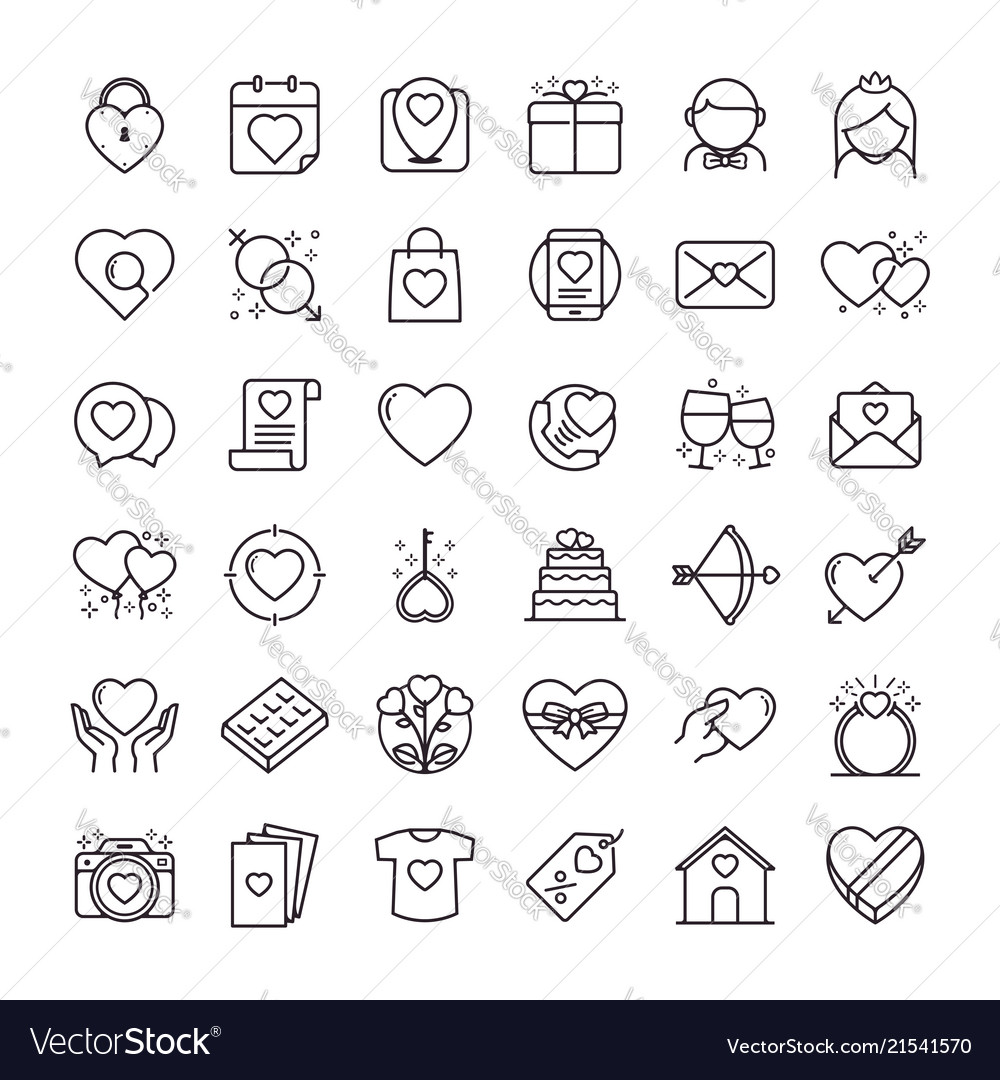 Valentines day icons set