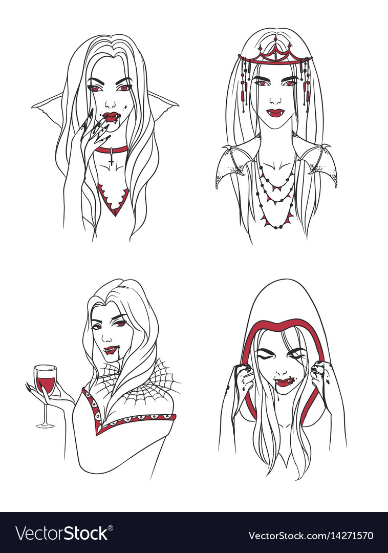 Vampire Girl Woman With Fangs And Blood
