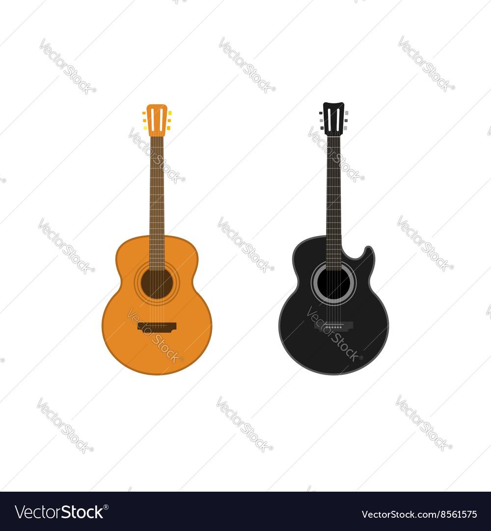 Acoustic guitars set isolated on white