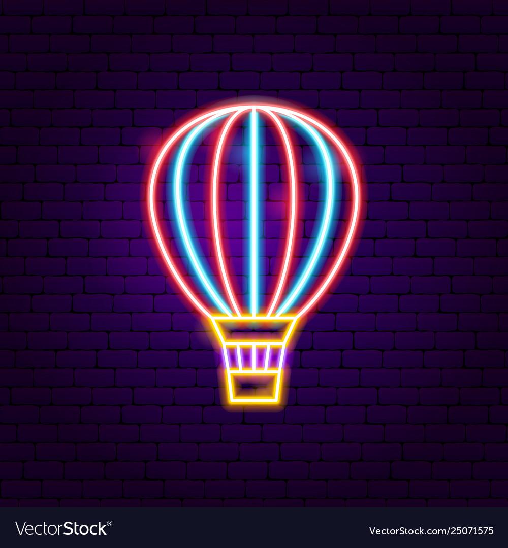 Air balloon neon label