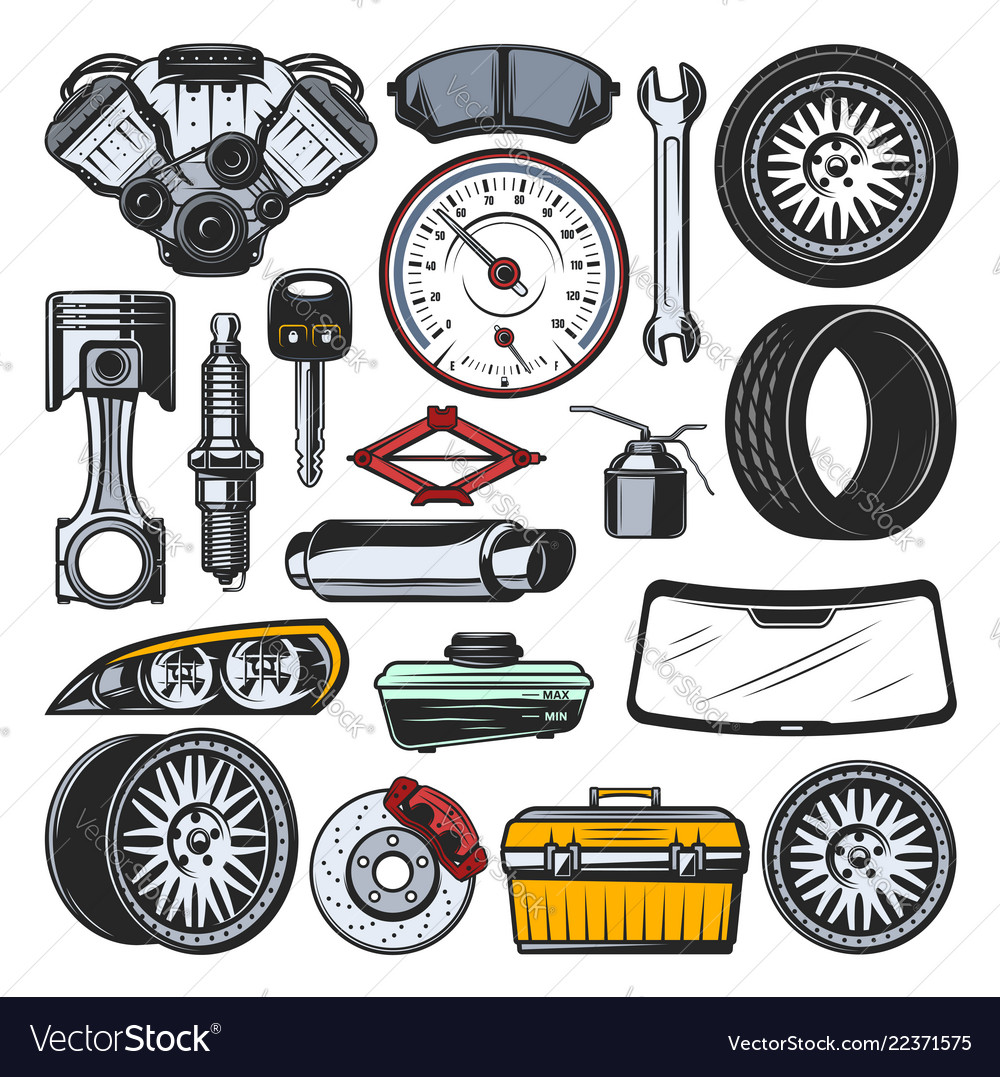 Car Auto Parts Engine Tires And Tools Royalty Free Vector