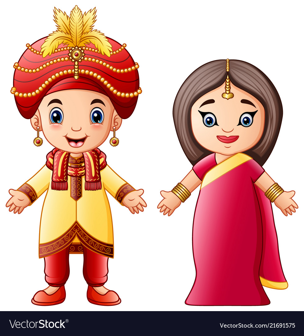 Cartoon indian couple wearing traditional costumes