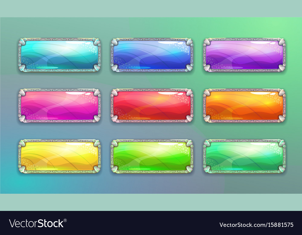 Cartoon long horizontal crystal buttons