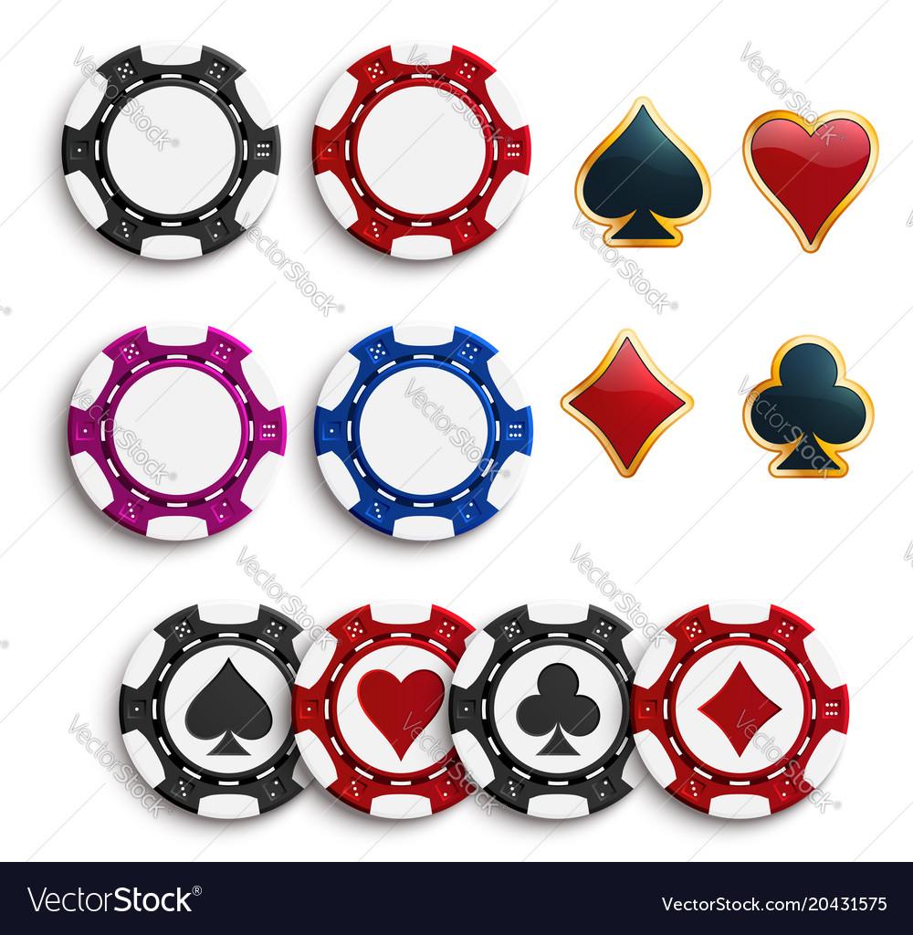 Casino poker gambling chips icons