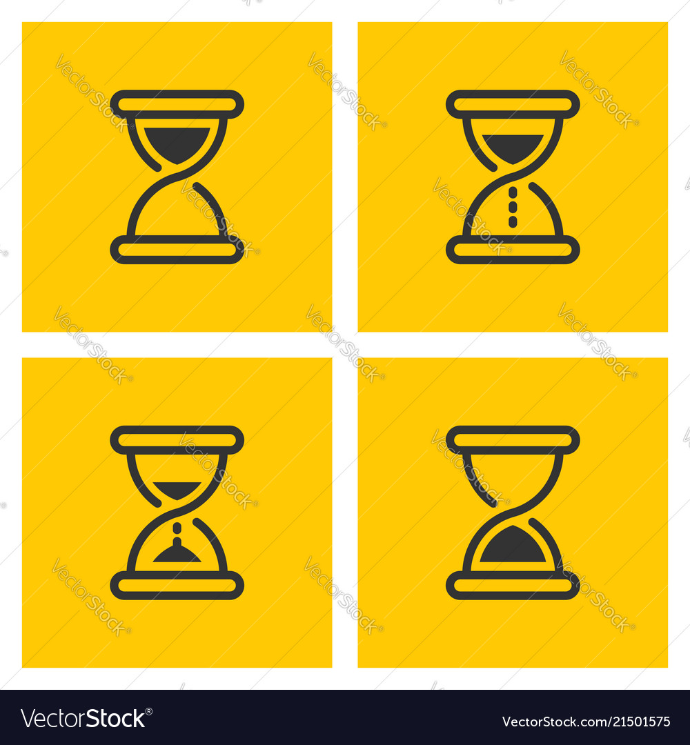 Hourglass outline black icons on yellow