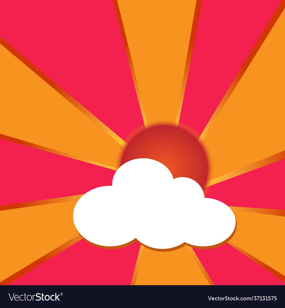 Sun has clouds and orange beams