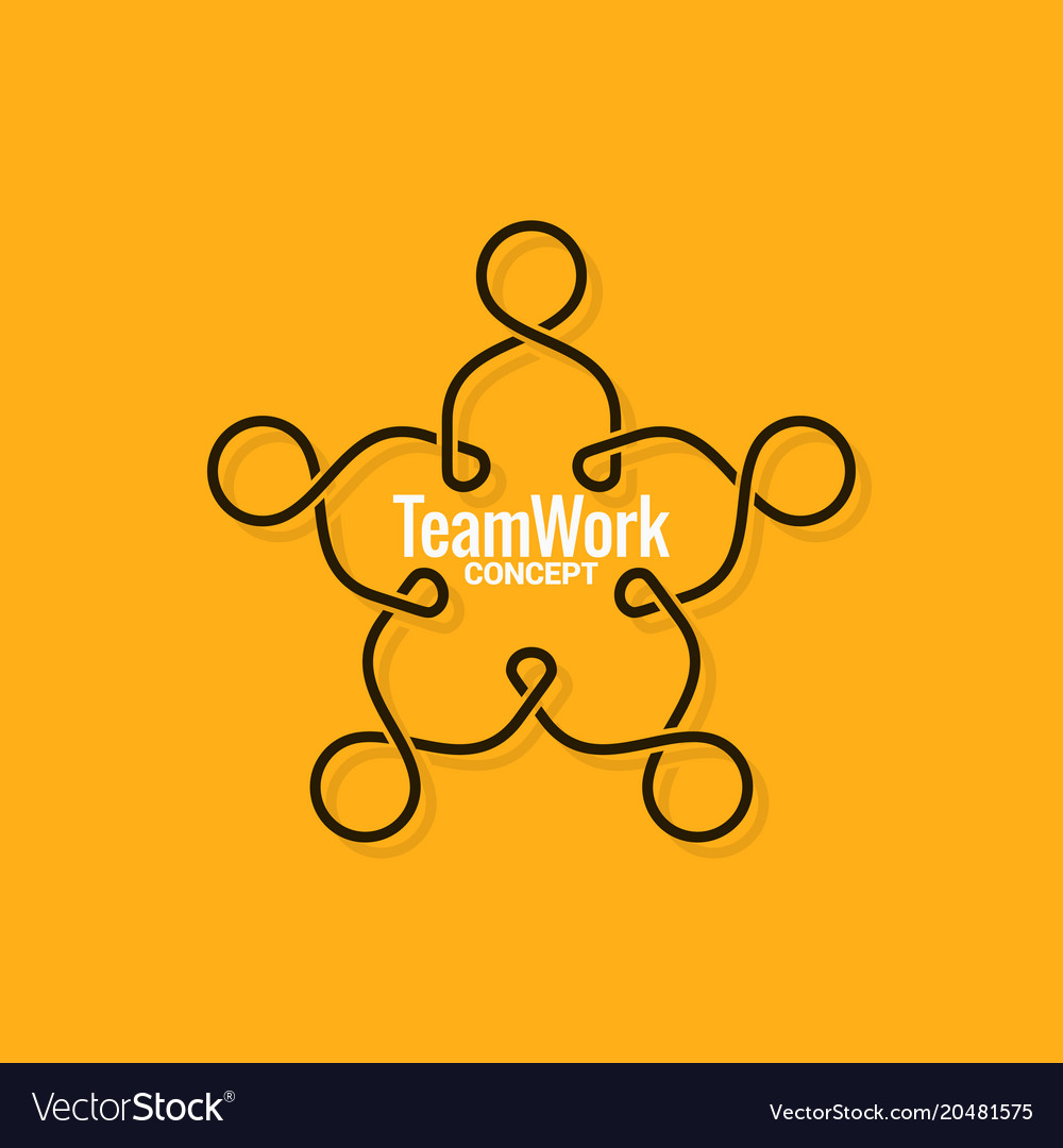 Teamwork logo business line concept on yellow