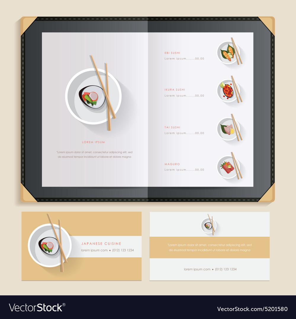 Asian Restaurant Menu Template Royalty Free Vector Image