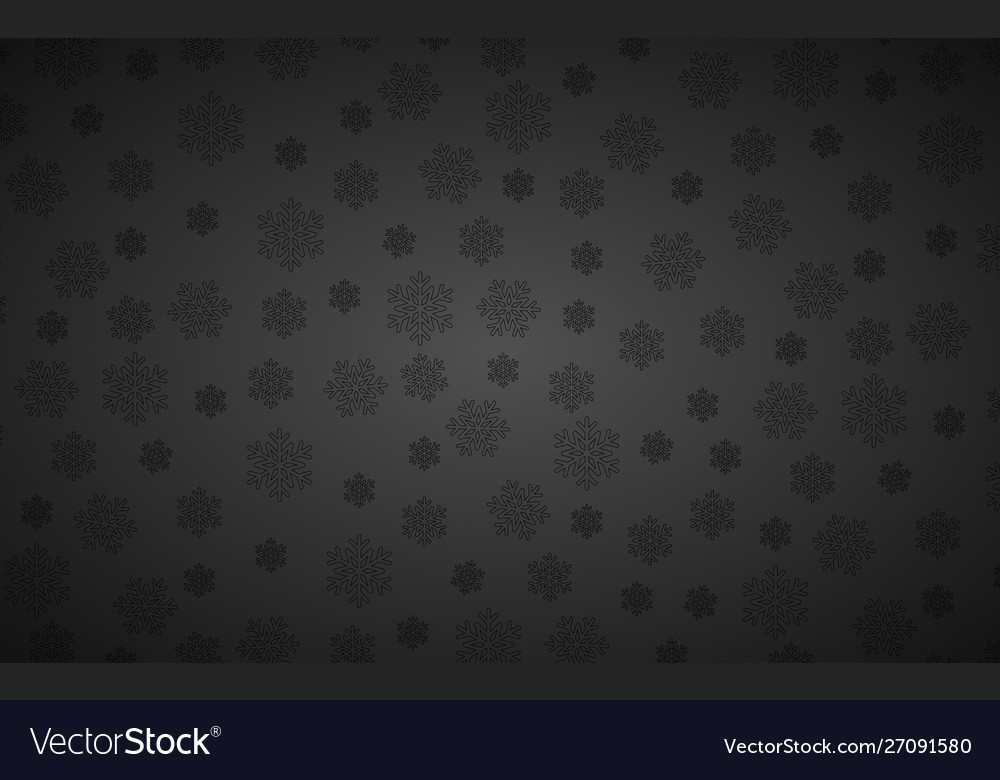 Black christmas background with snowflakes simple