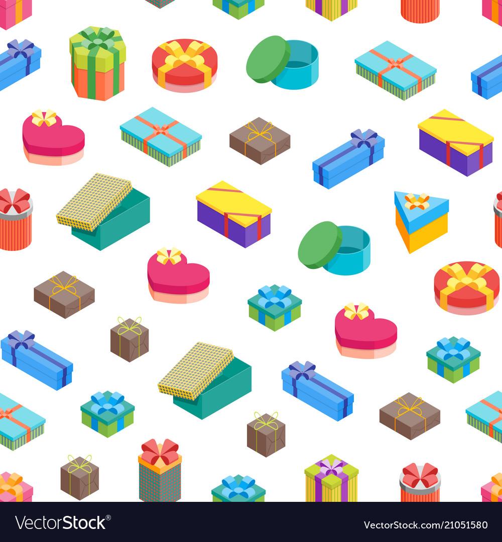 Cartoon present boxes seamless pattern background