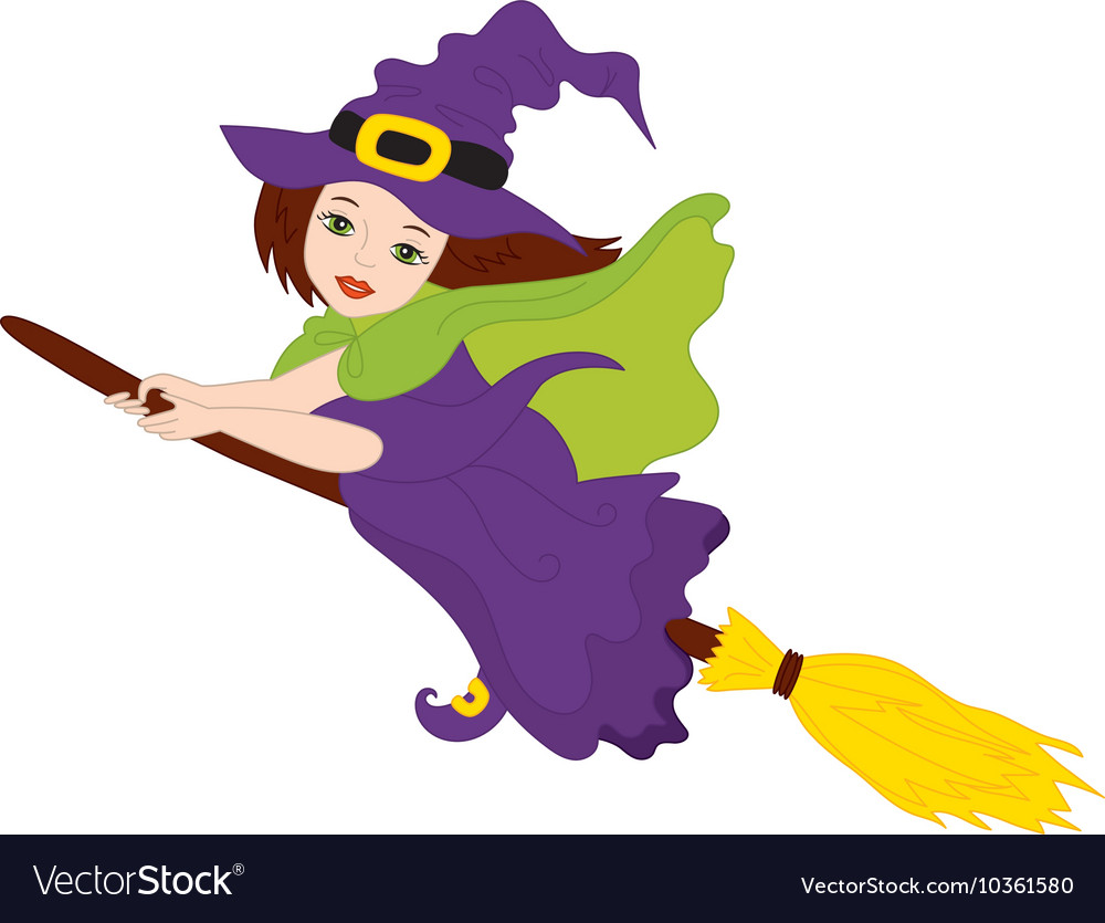 flying witch - halloween royalty free vector image