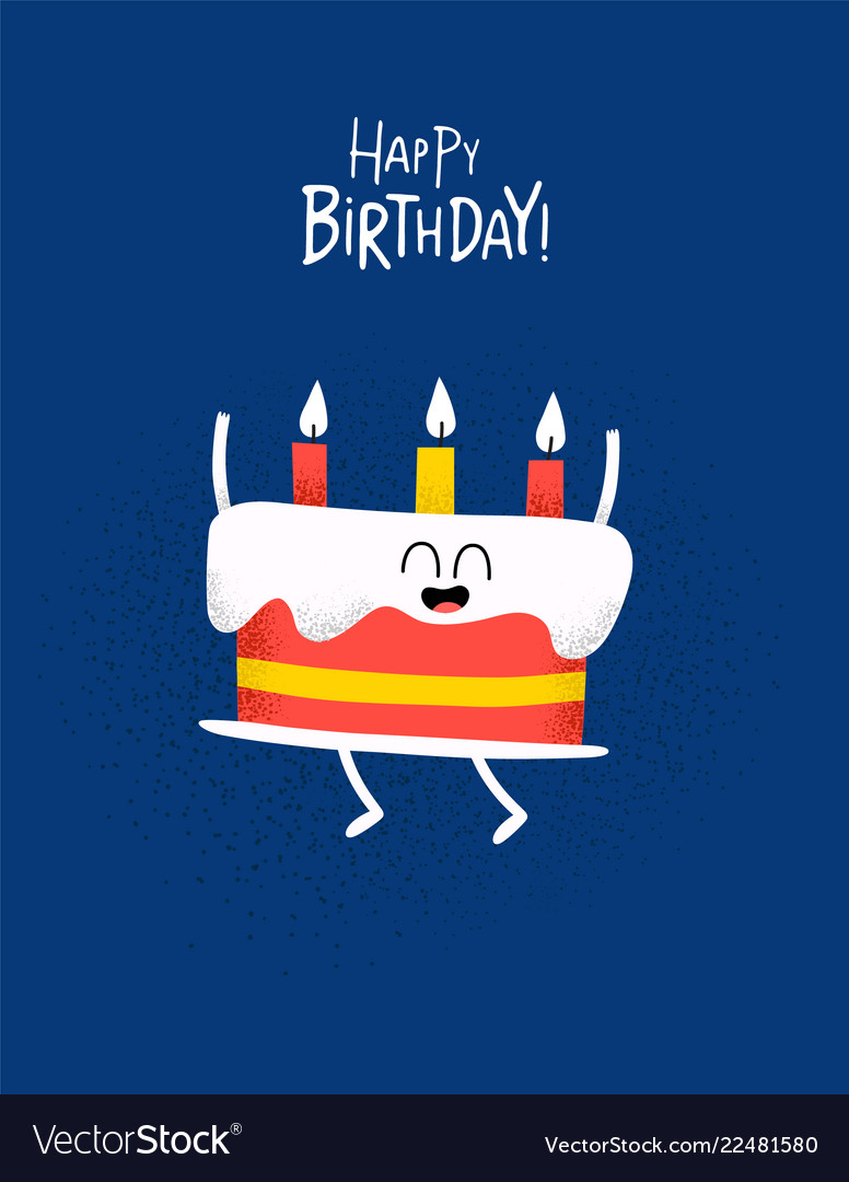 Funny Happy Birthday Card Cake With Candels Vector Image