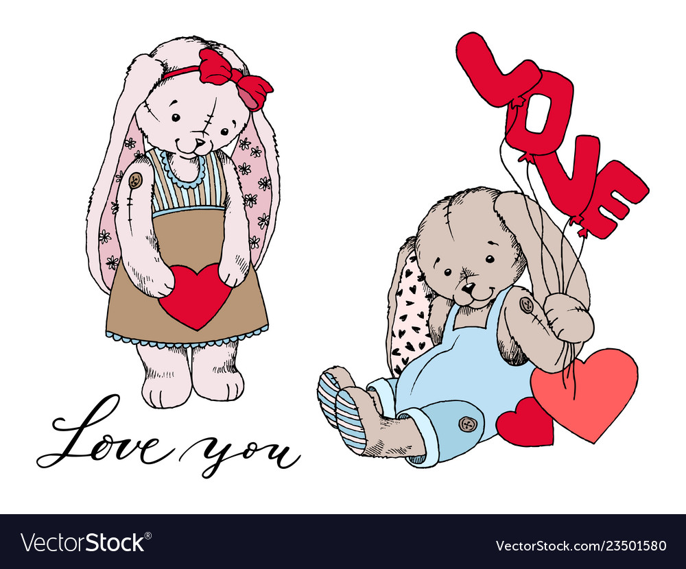 Girl teddy bunny toy with heart and boy bunny with