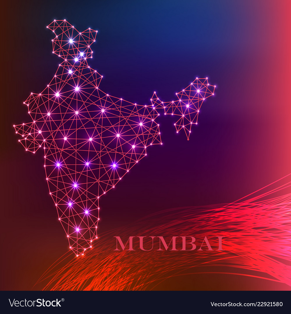 India map of polygonal mosaic lines rays and