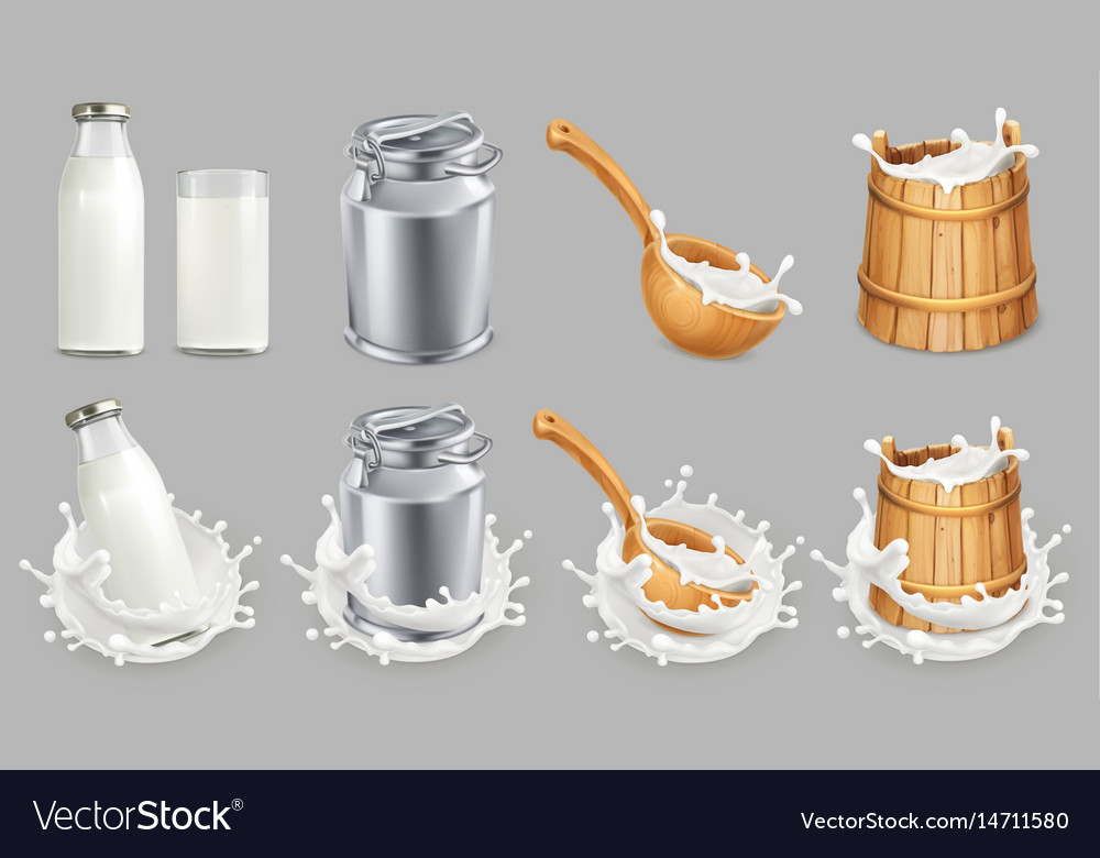 Milk can and splash natural dairy products 3d vector image