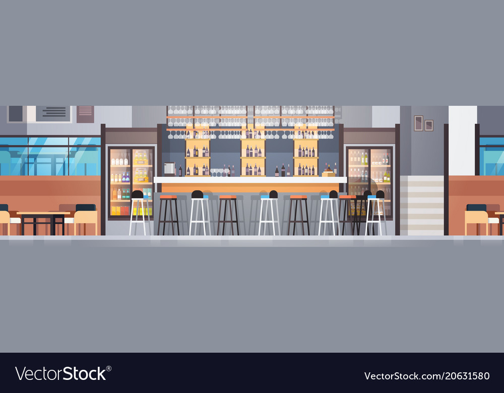 Modern cafe or restaurant interior with bar