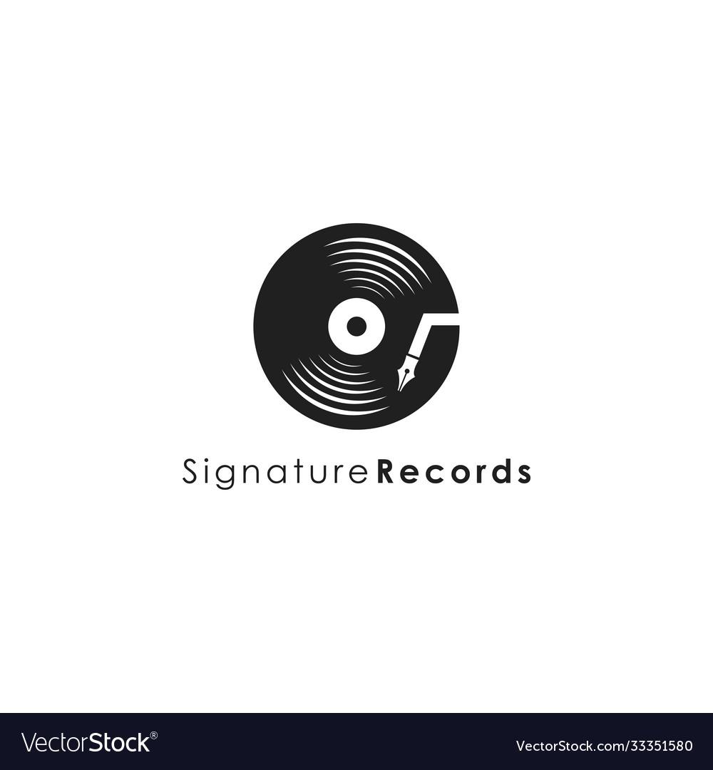 Music disc pen signature logo icon template