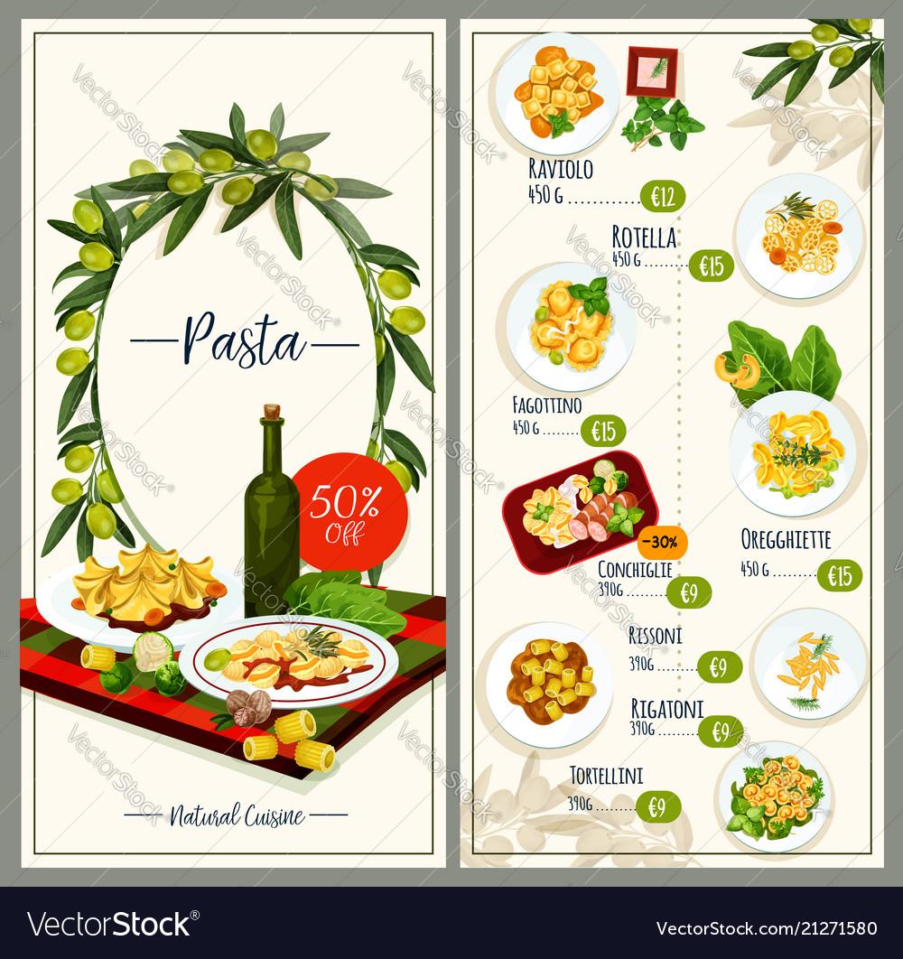 Pasta menu of italian cuisine restaurant tempalte