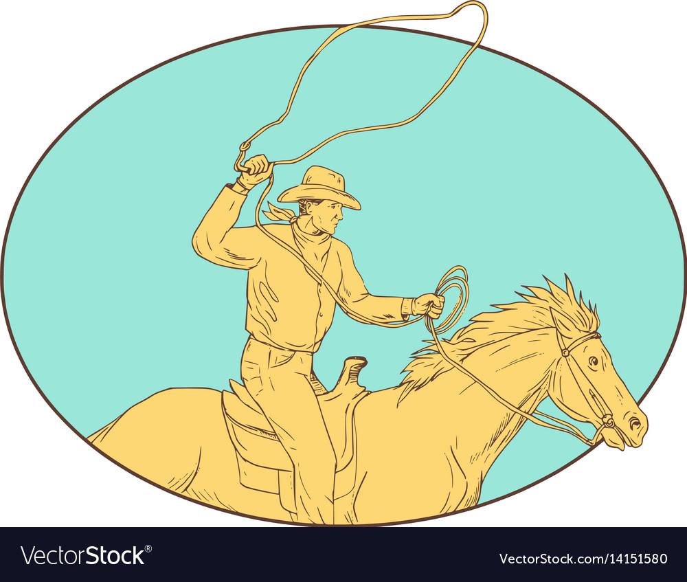 Rodeo cowboy lasso horse circle drawing