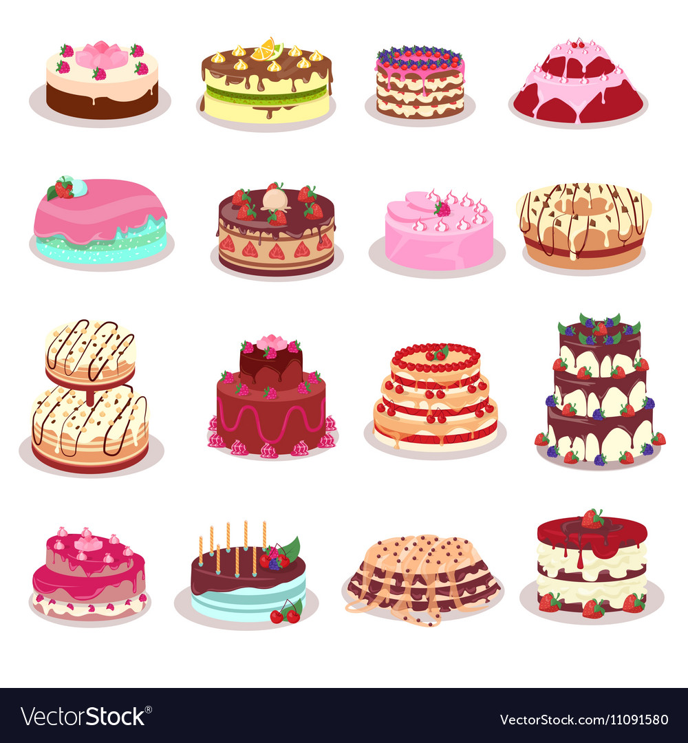 Set Of Decorated Cakes In Flat Design
