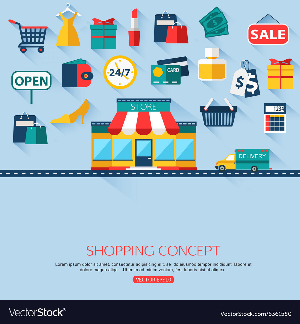 Shopping concept background with place for text