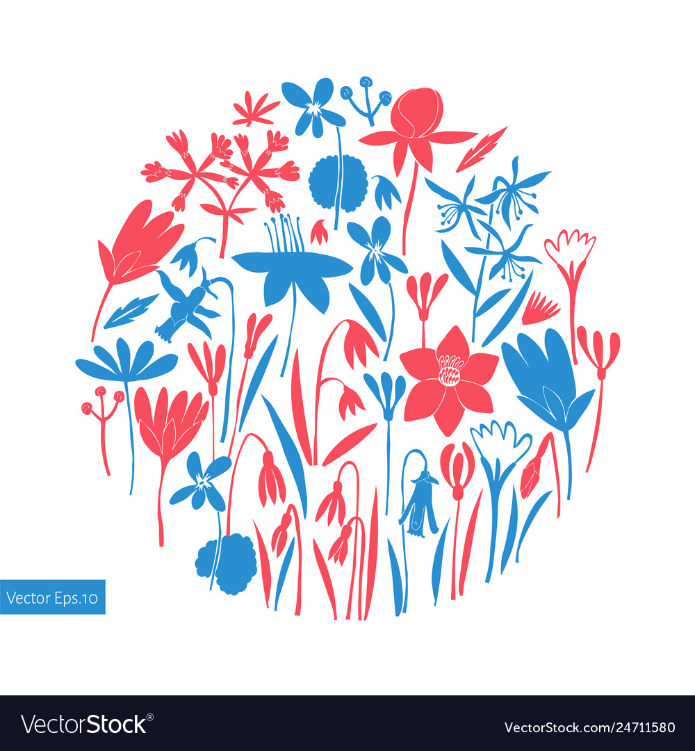 Spring flowers round design scandinavian style