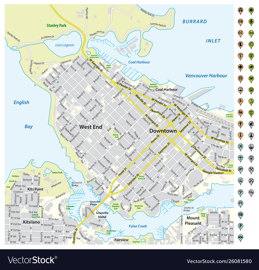 Street map downtown vancouver with pin pointers