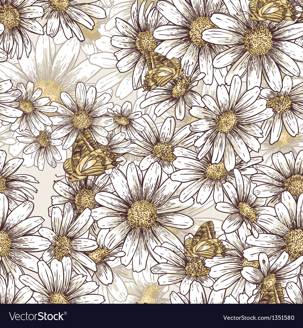 Summer floral pattern with daisies vector image