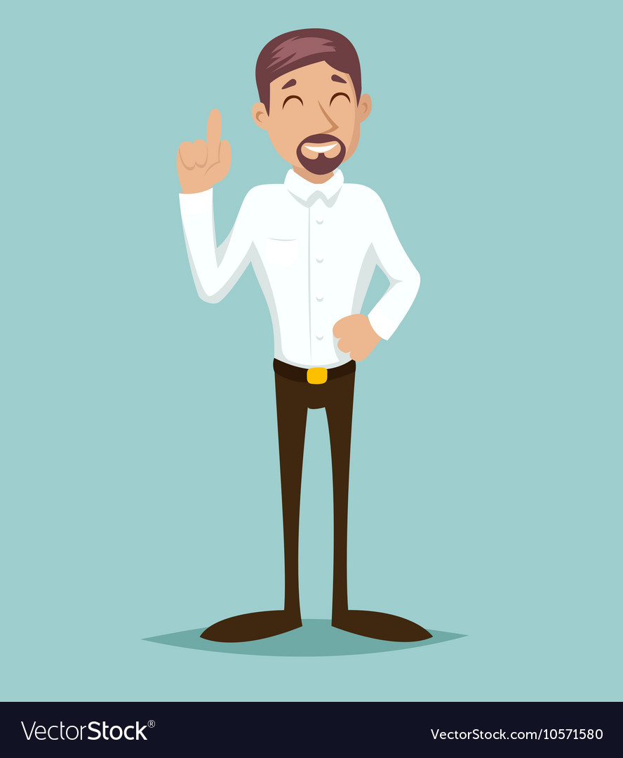 Support Idea Cartoon Businessman Character Icon vector image