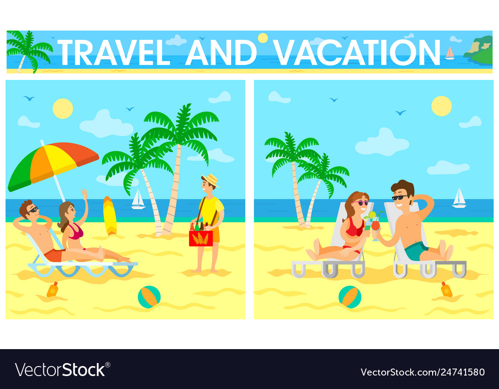 Travel and vacation poster with travelers set