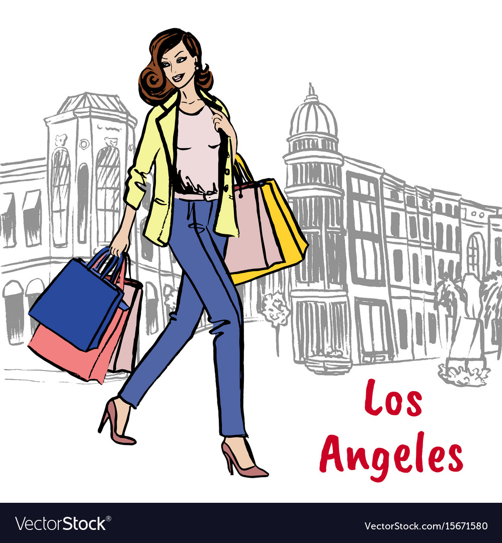 Woman with shopping bags on rodeo drive vector image