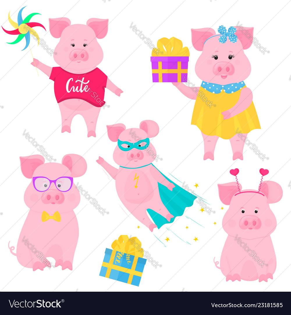 Boar walks with a windmill toy cute pig in