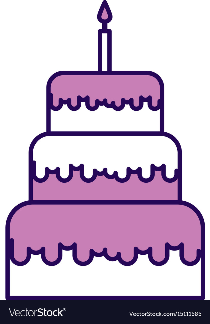 Cute Purple Birthday Cake Cartoon Royalty Free Vector Image
