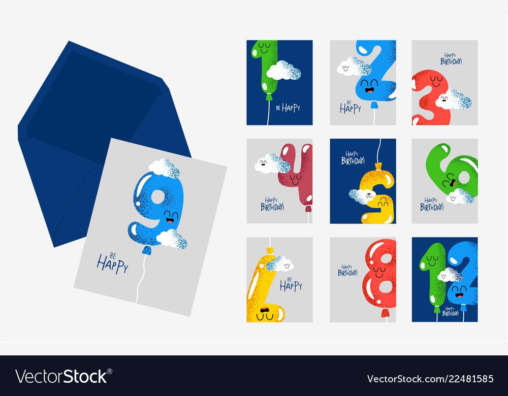 Happy birthday card number envelope part set