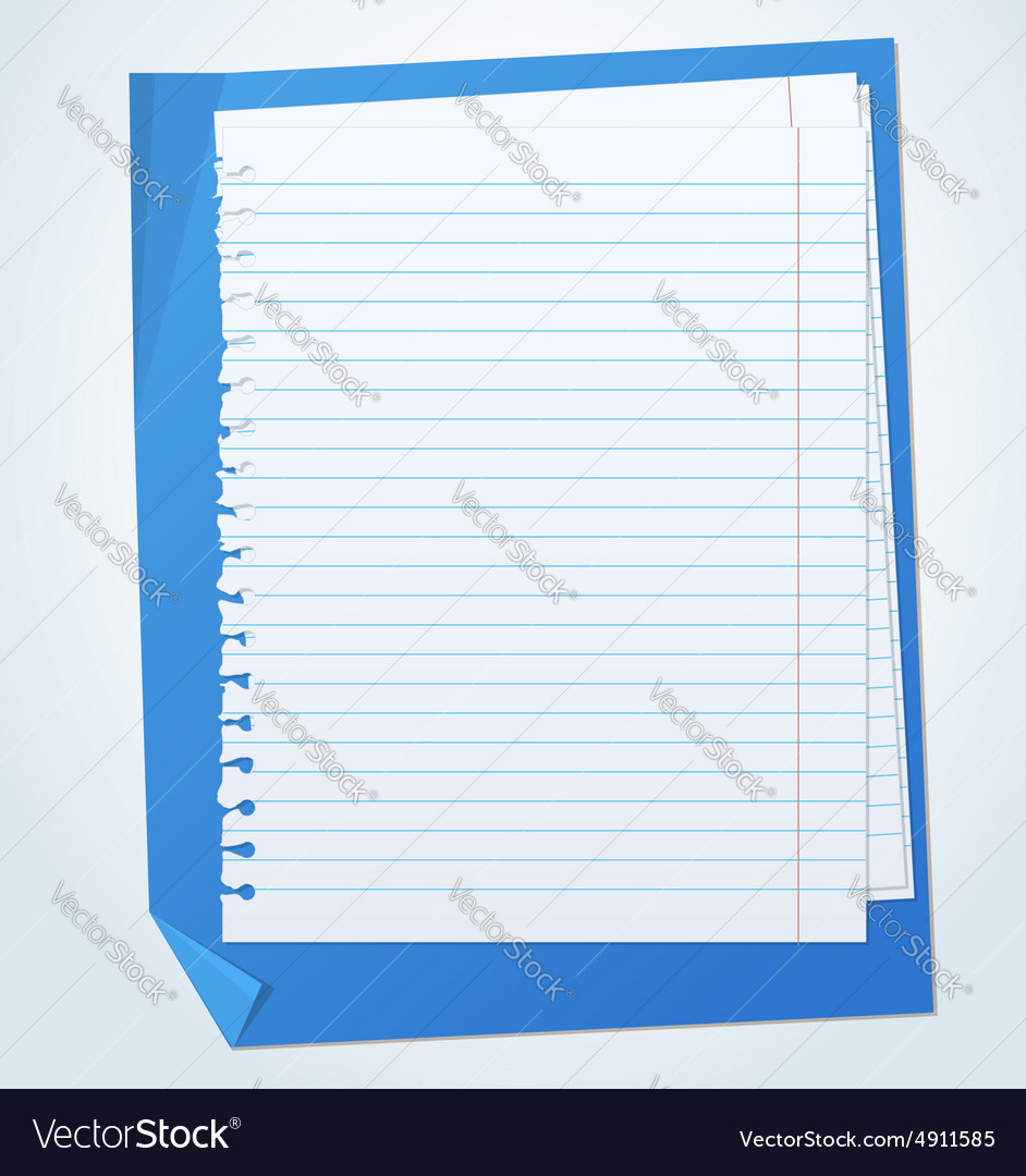 Lined exercise sheets and sheet of blue paper with