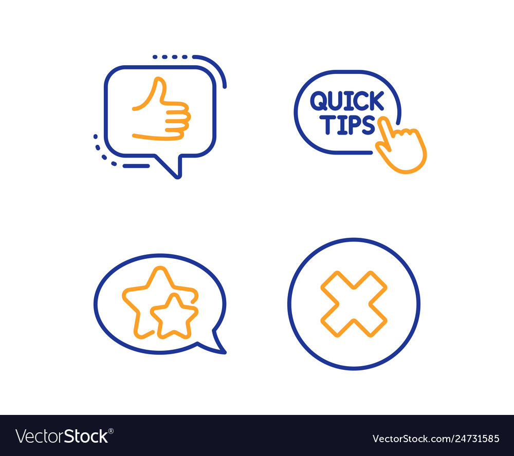 Quick tips star and like icons set close button