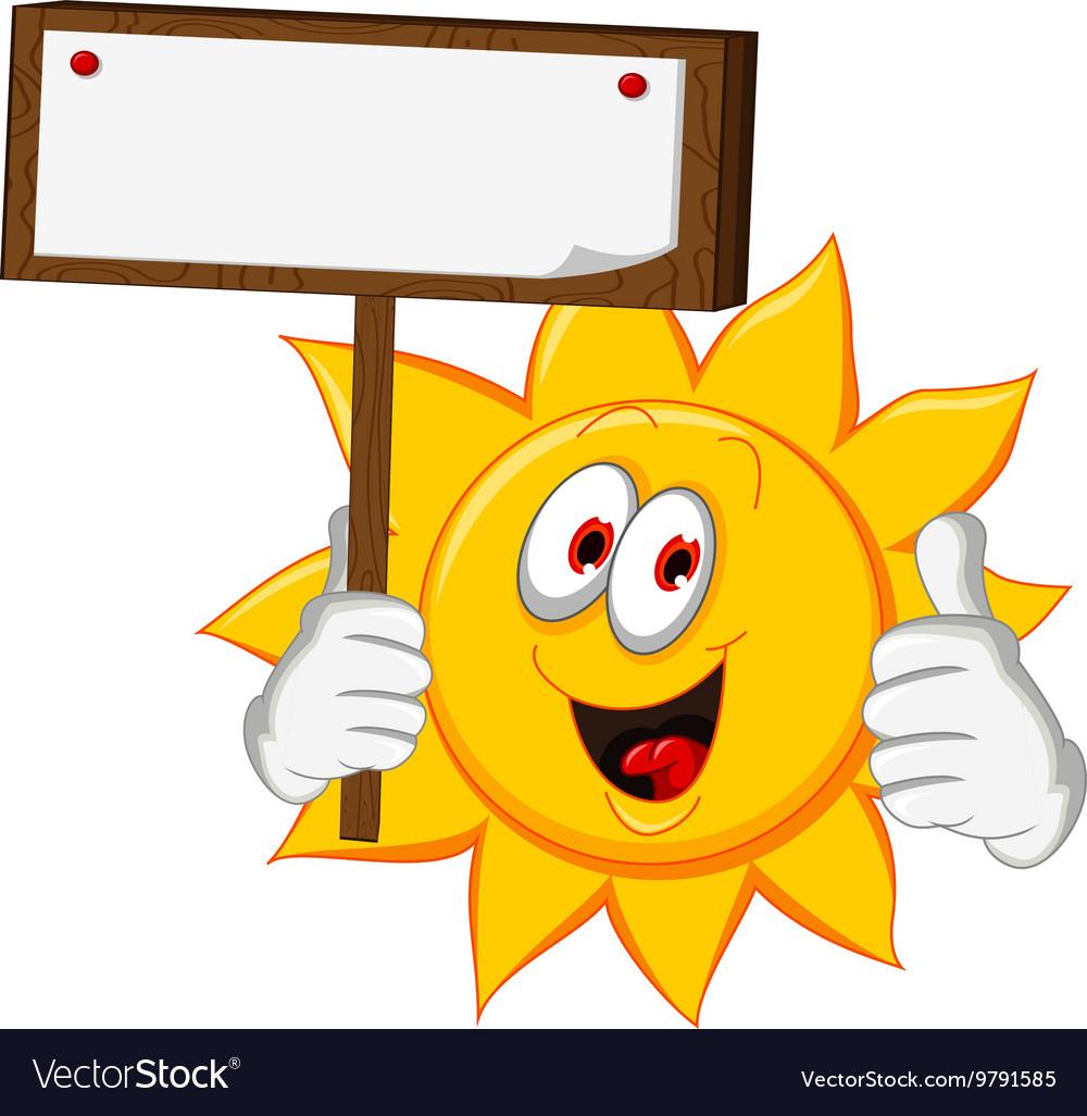 Sun cartoon holding blank board