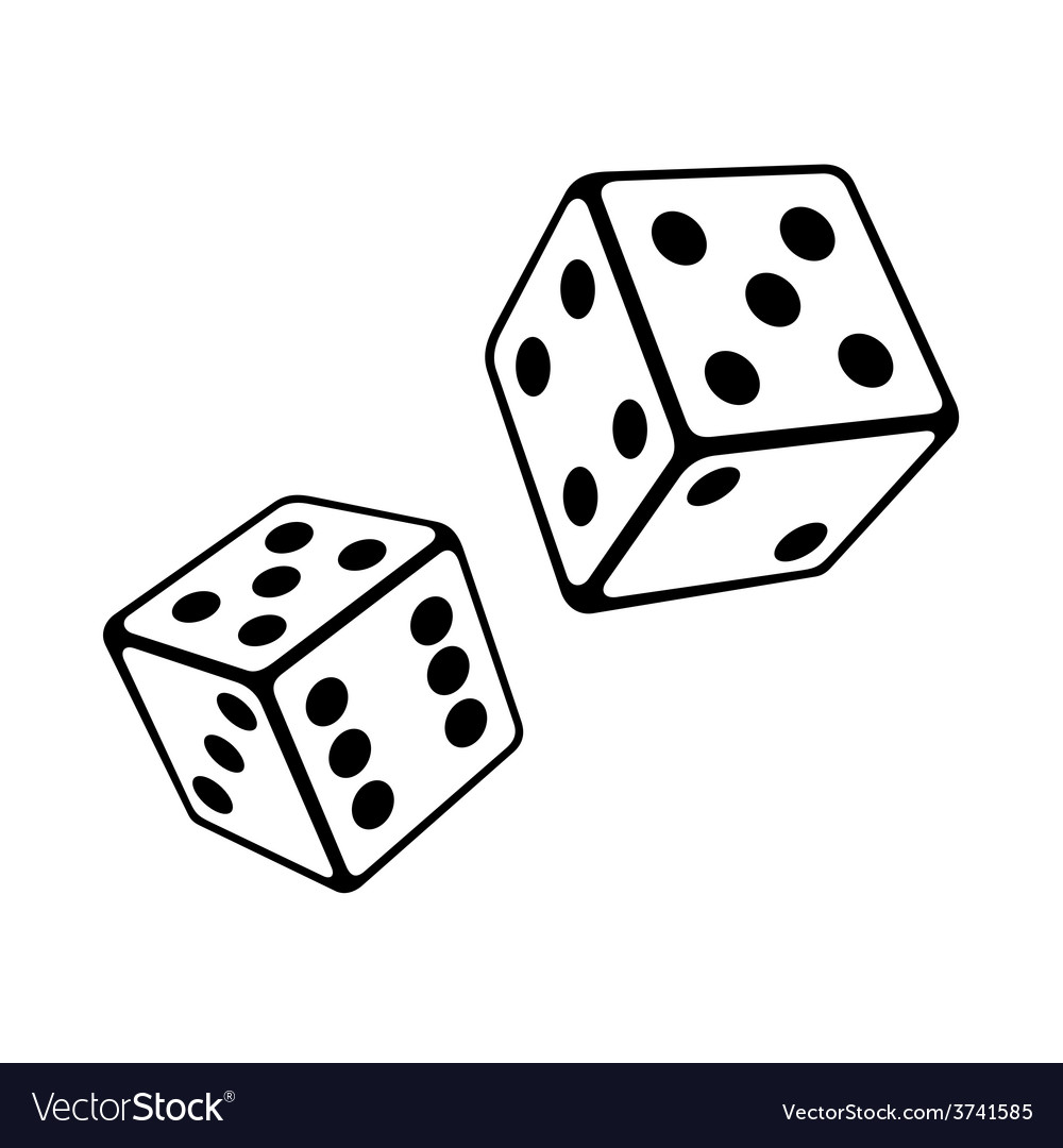Two Dice Cubes on White Background