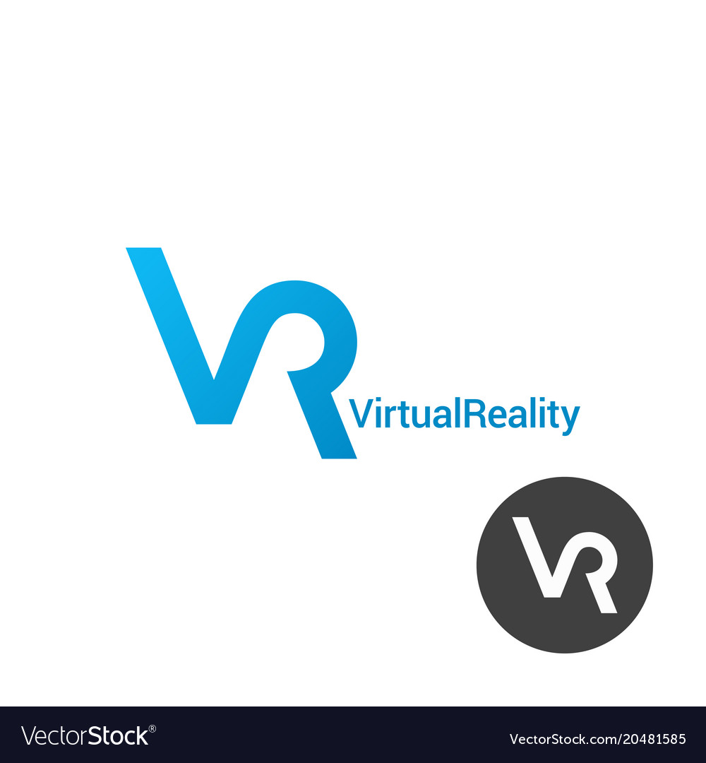 Vr logo virtual reality design on white