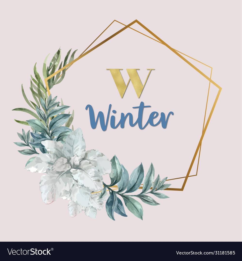 Winter floral blooming wreath frame elegant for