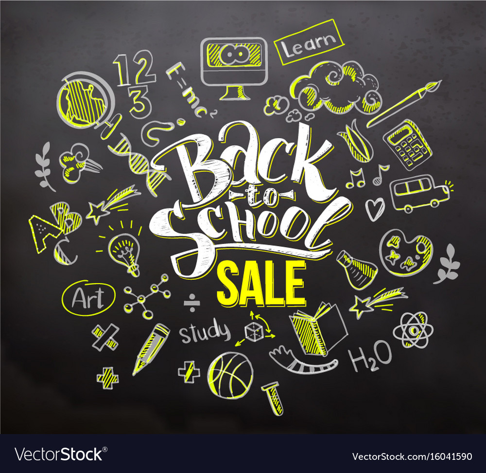 Back to school sale on blackboard