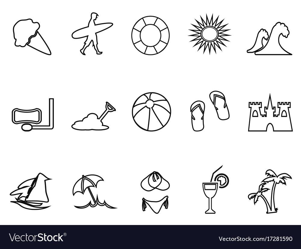 Beach linear icon set vector image
