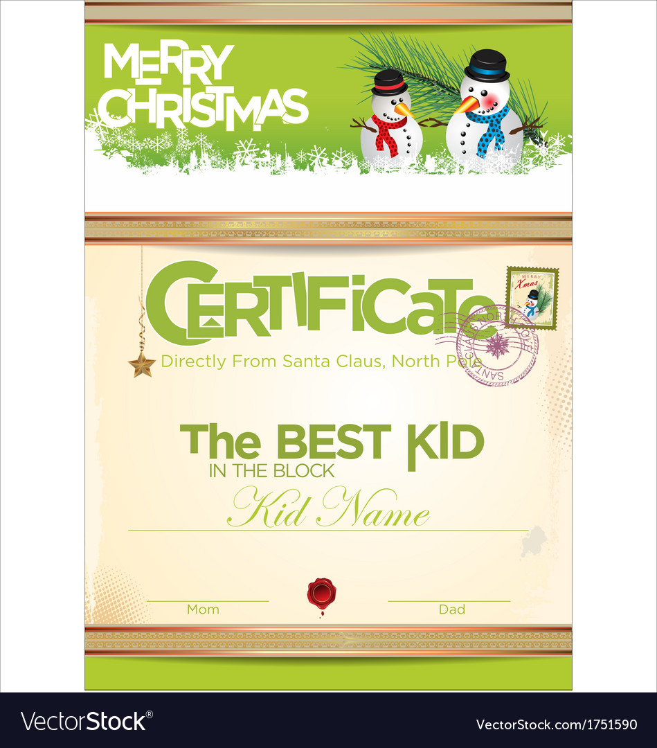 Certificate template the best kid Royalty Free Vector Image