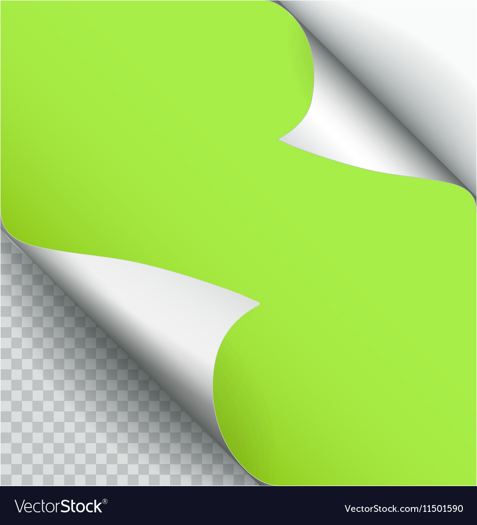 Color Paper Page Curl with Shadow Isolated vector image