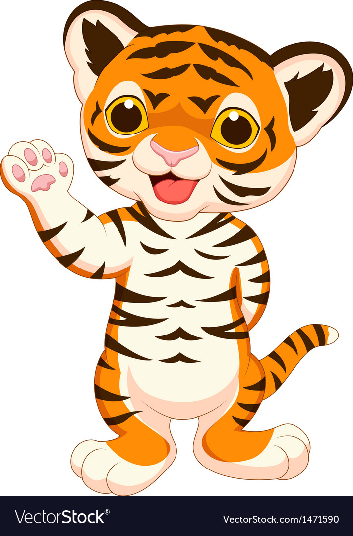 Cute baby tiger cartoon waving Royalty Free Vector Image