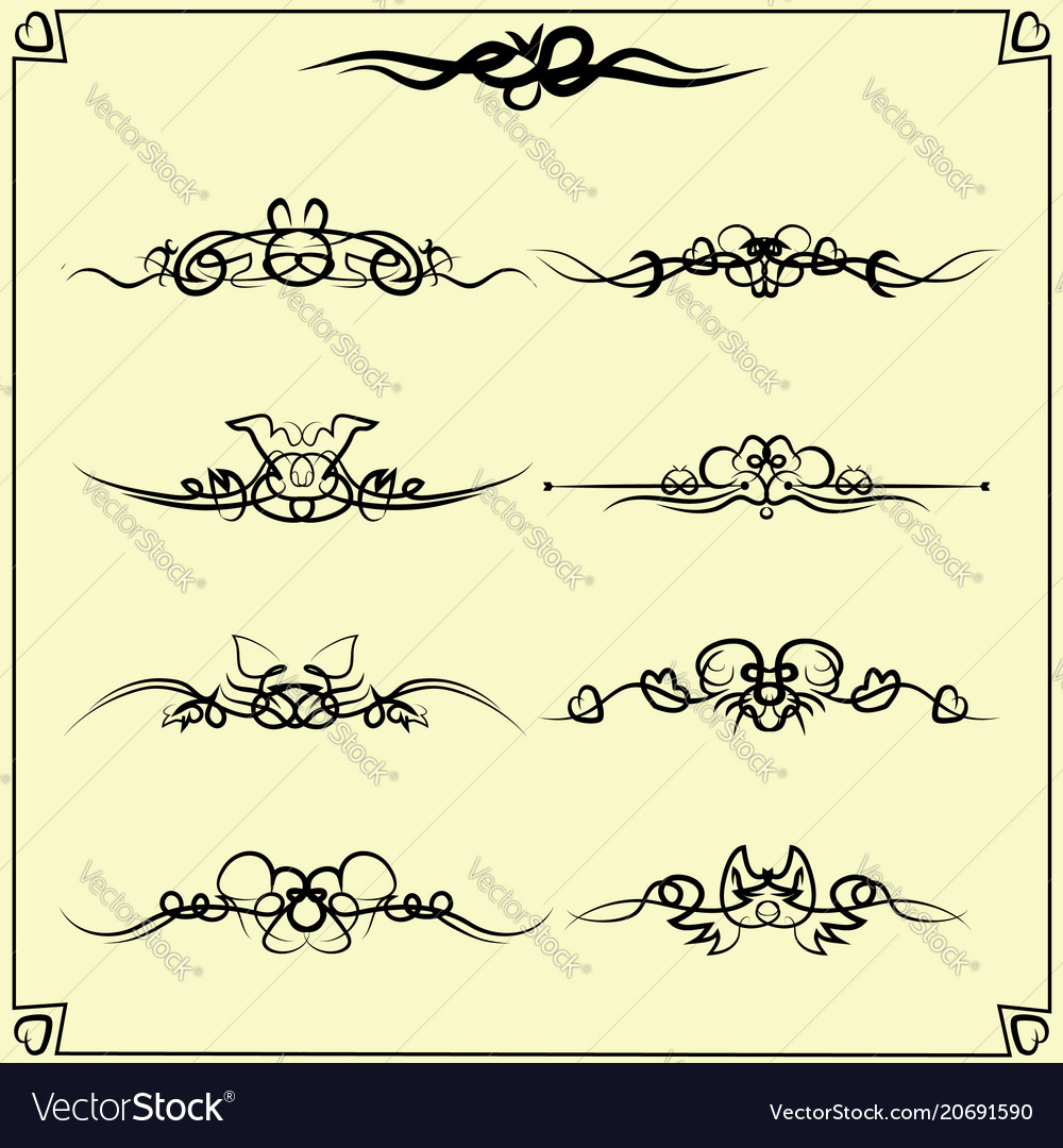 Design elements vintage dividers in black color